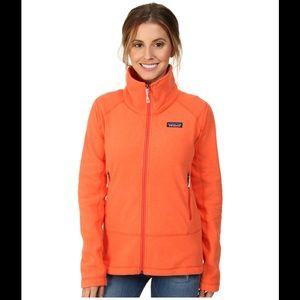 Patagonia orange women's fitted fleece zip up